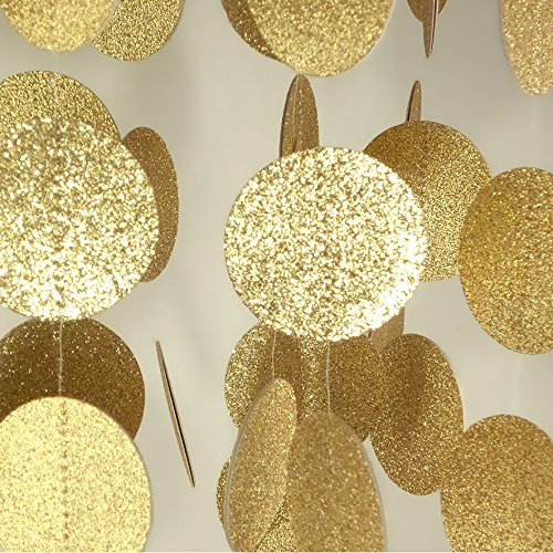 Little Snow Direct 3M Sparkling Paper String Garland Hanging Bunting Handmade Wedding Birthday Party Colourful Decoration - Dots - Gold Glitter