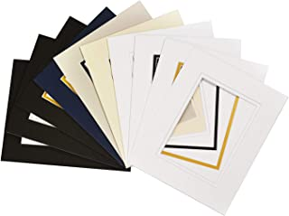 Golden State Art, Pack of 10, Mix Colors 8x10 Picture Double Mat for 5x7 Photo with White Core Bevel Cut Frame Mattes