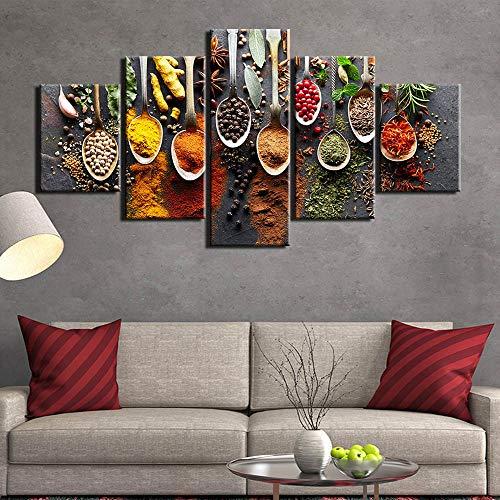 JSBVM 5 Panel Küche Essen Segeltuch Malerei Essen Bild 5 Tafeln Gewürze Bilder Wandkunst für Wohnzimmer,A,30×40×2+30×60×2+30×80×1