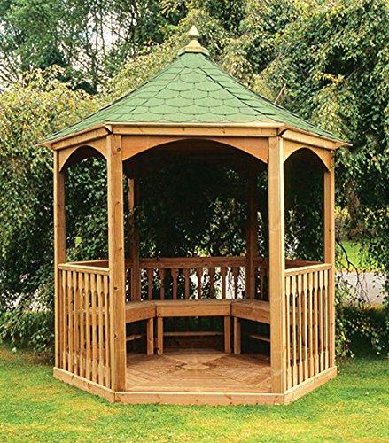 LiveOutside Brompton - Hexagonal Wooden Garden Gazebo wirth Floor, Balustrade and Felt Tiled Roof (h 310 x 280 x 240 cm)