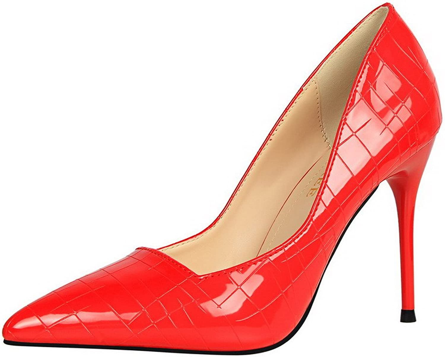 WeiPoot Women's Solid PU High-Heels Pull-On Pointed-Toe Pumps-shoes