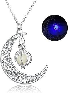 Moon Glowing Pumpkin Pendant Necklace For Women Girls Halloween Gifts
