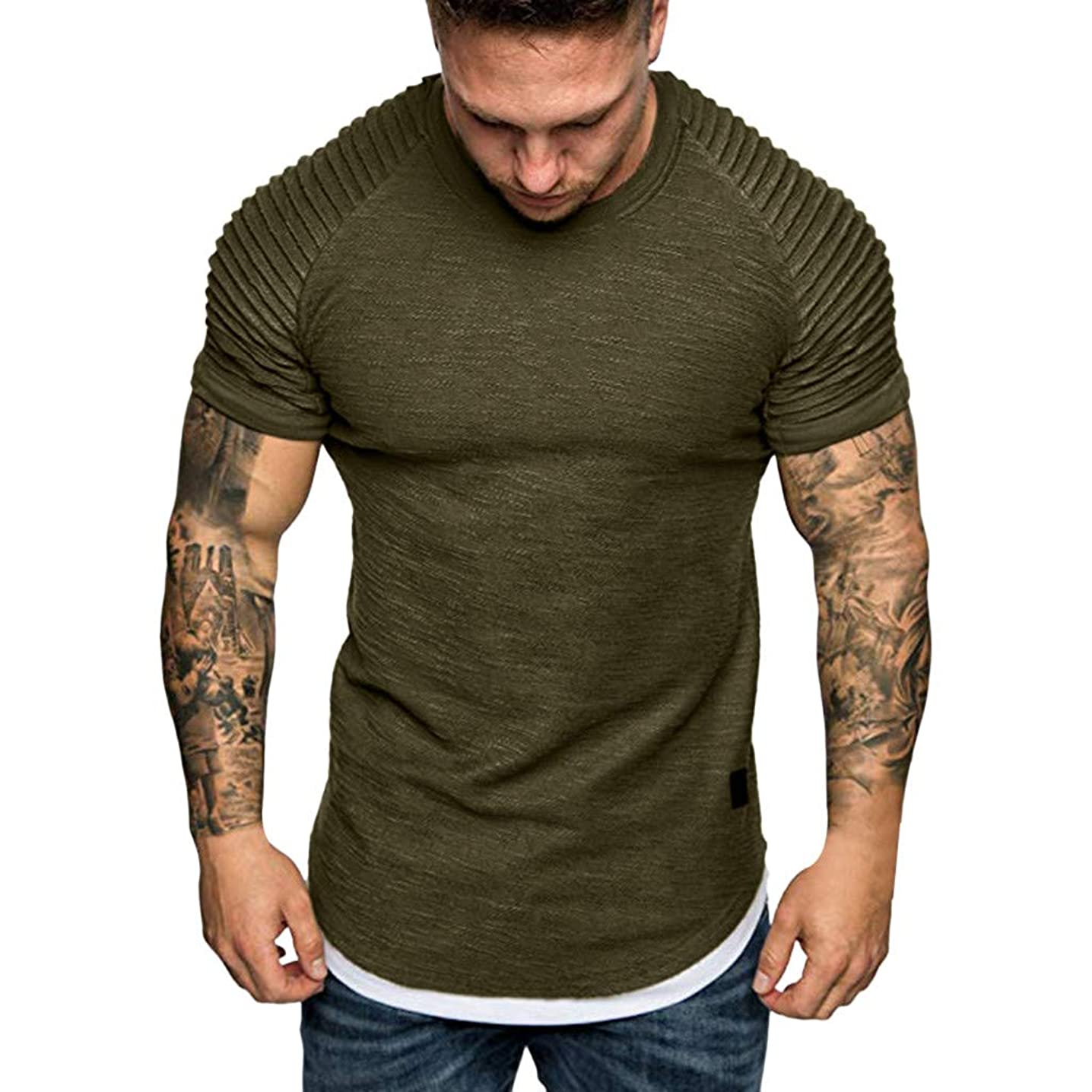 Men's Pleated Slim Fit Casual Short Sleeve Pullover Tops Curved Hem Round Neck Solid T-Shirt