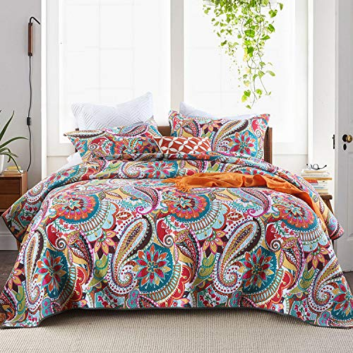 Qucover Multicolor Paisley Blossom Patchwork Bedspread Quilt&Sham Collection Queen 3-Piece