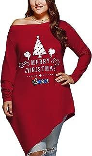 CharMma Women's Plus Size Merry Christmas Print Skew Neck Asymmetrical T-Shirt