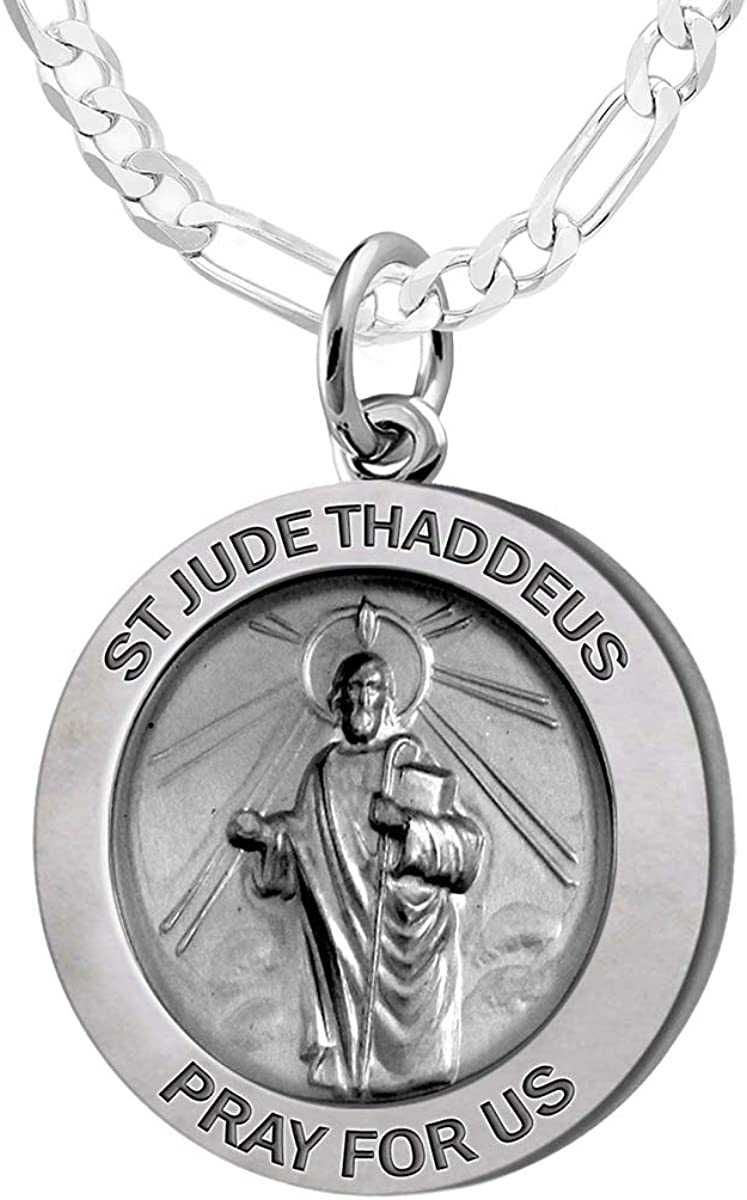 18in to 24in US Jewels Ladies 925 Sterling Silver Saint Jude Thaddeus Round Antiqued Pendant Necklace