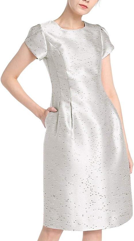 Apart Elegantes Damen Kleid Cocktailkleid Aus Glanzendem Jacquard Kurze Tulpenarmel Amazon De Bekleidung
