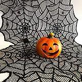 Oblique Unique® Tischläufer Spinnennetze und Spinnen mit Spitze Tischband Tisch Läufer Tischdeko für Halloween Deko Dekoration Schwarz 45cm breit 1,8m lang - 3
