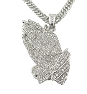 Mens ICED Out Golden/Silver Praying Hands Pendant 35