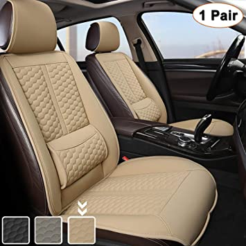 Black Panther Car Seats Covers, 1 Pair Universal Sideless Driver Seat Protectors with Lumbar Support and Headrest Cover (Beige): image