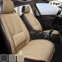 Black Panther Car Seats Covers, 1 Pair Universal Sideless Driver Seat Protectors, with Lumbar Support and Headrest Cover (Beige)