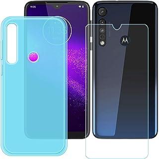 YZKJ Fodral för Motorola G8 Plus Cover blå mjuk silikon skyddande skal TPU skal skal skal + pansarglas skärmskydd för Moto...