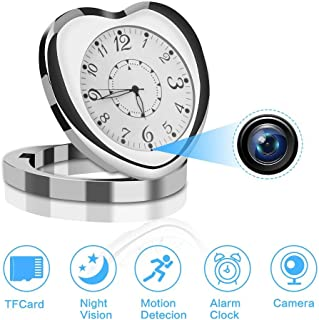 1080P Spy Camera, Hidden Cameras Digital Clock Video Recording Lens Wireless IP Camera for Indoor Home Security Monitoring Nanny Cam with Night Vision Motion Detection