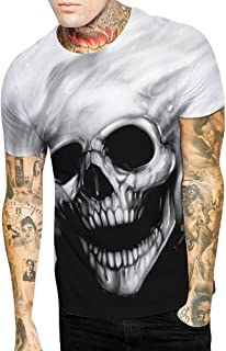KASAAS T-Shirt for Couples Skull Octopus Print Crewneck Short Sleeve Simple Shirt Tops Blouse Pullover