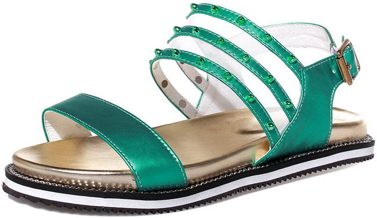 AmoonyFashion Women's Low-Heels Soft Material Buckle Open Toe Sandals with Metal Ornament