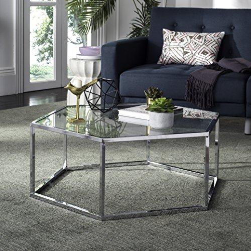 Safavieh Home Collection Eliana Chrome and Glass Hexagon Coffee Table