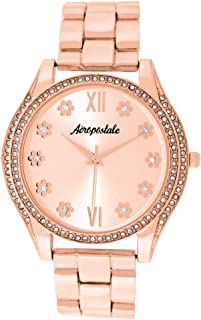 Aéropostale Women's Quartz Rose Gold Metal Watch - Flower Dial - Casual FashionWatch