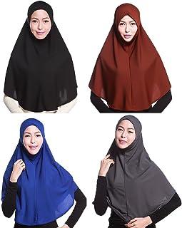 4 Pcs Women Muslim Hijab Amira Islamic Solid Soft Scarf Long Hejab Head Shawls Black White Blue Wine Red Beige Grey Purple