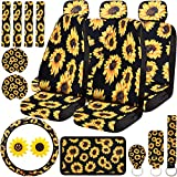 20 Pieces Sunflower Car Accessories Set, Sunflower Car Seat Covers Full Set, Steering Wheel Cover, Car Armrest Cover, Seat Belt Covers, Car Coaster, Car Vent Decor, Universal Fit for Auto Truck Van
