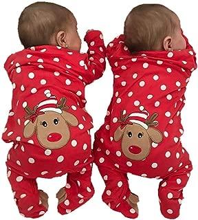 Dcohmch Newborn Baby Boy Girl Christmas Clothes Romper Jumpsuit Bodysuit Infant Polka Dot Footie Pajamas Deer Outifits