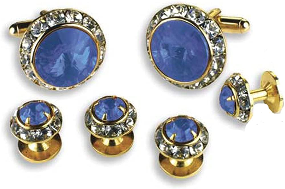 EZ Tuxedo Crystal Cufflinks and Studs with Sapphire Center