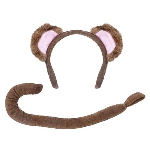 Monkey Ears /& Tail Set Fancy Dress Headband Chimp Costume Accessory Adult Child