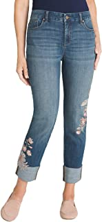 Women's So Slimming Floral Embroidered Girlfriend Ankle Jeans