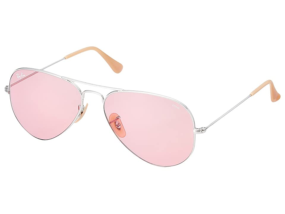 Ray-Ban 0RB3025 Evolve Aviator 58mm (Silver/Pink) Fashion Sunglasses