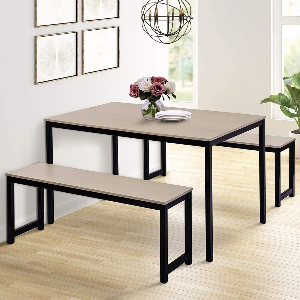 Dining Room Table Set, 9 Pieces Farmhouse Kitchen Table with 9 Benches,  Metal Frame and MDF Board, Modern Furniture for Home, Cafeteria, Apartment  and ...