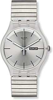 Swatch Resolution Unisex Silver Dial Stainless Steel Band Watch - SUOK700A