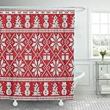 Not applicable Duschvorhang Red Knit Weihnachten & Neujahr Design Fair Isle Strickmuster Abstract Duschvorhang,72X72 In