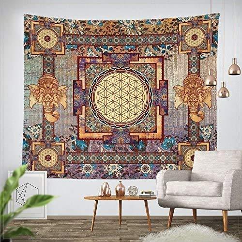Goldbeing indischer Wandteppich Wandbehang Mandala Tuch Wandtuch Gobelin Tapestry Goa Indien Hippie-/ Boho Stil als Dekotuch/Tagesdecke indisch orientalisch Psychedelic (203 x 153cm, Rechteck)