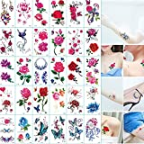 Temporary Tattoos - 30 Sheets Variety Tiny Rose Flowers Temporary Tattoos,Realistic Waterproof Tattoos Stickers,Fake Tattoos Body Art Sticker Arm Hand Neck Wrist Cover Up Set,For Adults Men Women Ki