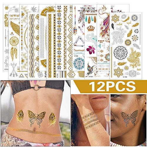 Etmury Temporäre Tattoos, 12 Blätter Metallic Tätowierung Wasserdicht Tattoobögen Körpertattoos Schimmer Fake Tattoos mit Über 200 Mustern Temporäre Aufkleber Schmuck für Frauen Mädchen Body Art