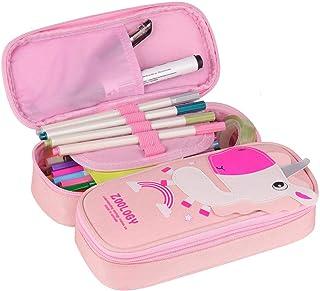 Estuche de lápices Unicornio - WENTS Estuches Escolar Grande Lápiz de Gran Capacidad Bolsas Dobles Bolso de lápiz Unicornio para Niñas, Niños y Adultos 2 Compartments (Rosa)
