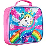 Kids Lunch Bag, Sequin Unicorn Lunch Box for Girls