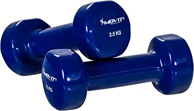 Movit Pair of Vinyl coated short Dumbbell Weights Barbell in 9 Different Colours