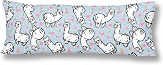 InterestPrint Cute Alpacas and Hearts Body Pillow Covers Pillowcase with Zipper 21x60 Twin Sides, Floral Llama Rectangle Body Pillow Case Protector for Home Couch Sofa Bedding Decorative