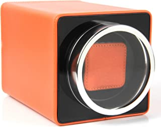 Single Watch Winder Black with 4 Rotation Mode Setting for Rolex, Fit Man Women Automatic Watch (Orange)