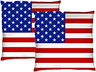 Throw Pillow Covers, Velvet American Flag Pillow Covers Patriotic Decorations USA Flag Cushion Covers Decorative Pillow Case for Independence Day Sofa with Invisible Zipper (Set of 2, 18 x 18 inch)