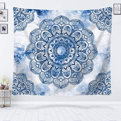 Blue Mandala Tapestry Marble Tapestry Wall Hanging Indian Boho Bohemian Tapestries Sketch Floral Medallion Wall Tapestry for Bedroom Living Room Dorm- 60' x 50'