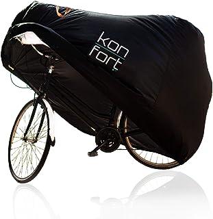 KON-FORT Funda Bicicleta Exterior Impermeable Tejido Oxford 210D Premium, contra Lluvia Sol Polvo, para Montaña Carretera (1-2 bicis) Incluye Bolsa de Transporte y Candado con Cable antirrobo