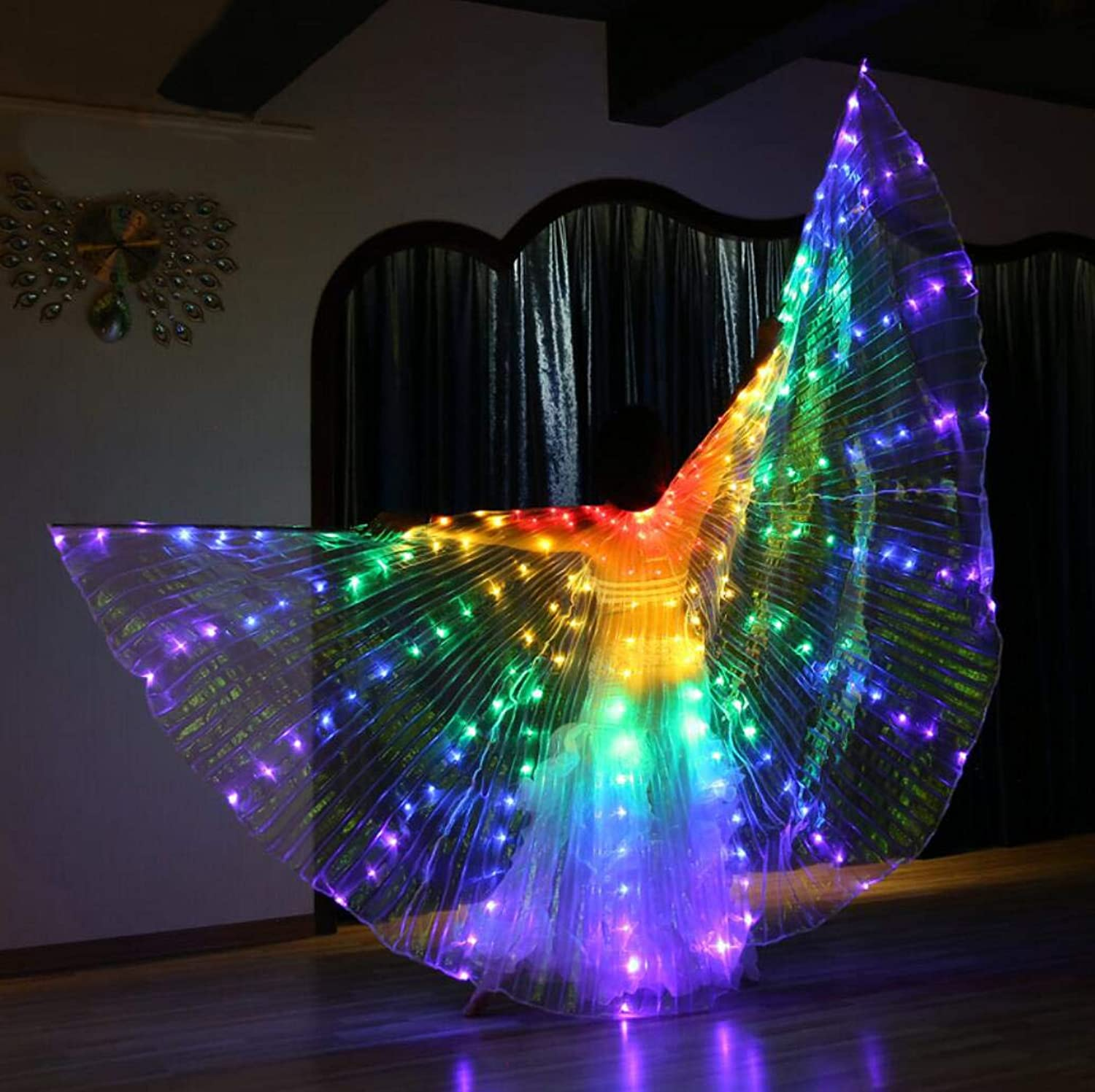 Dance Fairy Opening Belly Dance LED Isis Wings with Sticks RodsWings 216 LED Luminous Light Up Stage Performance Props Passed CE, FCC Certification