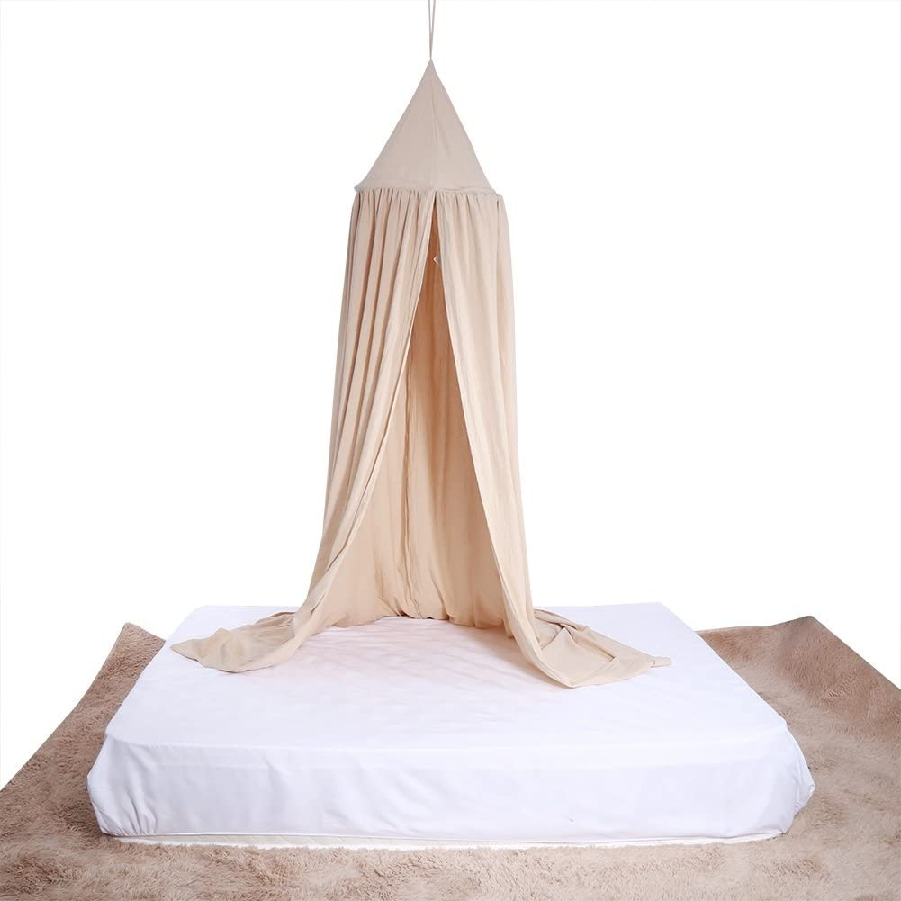 Yosoo Baby Bedding Round Dome Bed Canopy Kids Play Tent Hanging Mosquito Net Curtain for Baby Kids Reading Playing Sleeping Room Decoration, Khaki