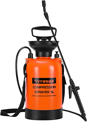 popular VIVOSUN 1.35 2021 Gallon Lawn and Garden Pump Pressure Sprayer with Pressure Relief Valve, lowest Adjustable Shoulder Strap online