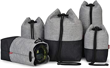 CADEN Camera Lens Case Bag Set( Small, Medium, Large, XL, XXL), Polyester Camera Lens Pouch Case Bag with Thick Protective Soft Plush for DSLR Camera Lens Canon Nikon Sony Olympus Panasonic and More