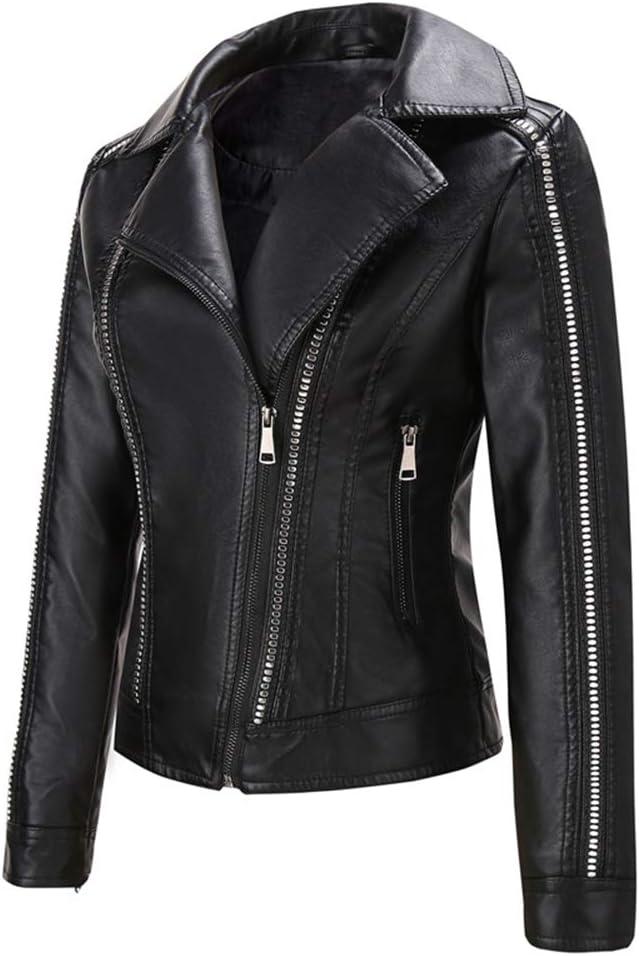 ER-JI Women's Fashion Studded Faux Leather Motorcycle Jacket,Black,L
