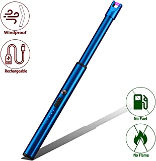 Elite Brands USA Plasma Arc Trendy Long Neck Rechargeable Windproof USB Lighter, Ideal for Gas Stove Candle Fireplace Kitchen Grills BBQ, Flameless Without Butane, Electric Beam Lighter (Blue)