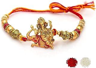 To The Nines Elegant Ganesha Red Rakhi for Beloved Brother with Tilak Material