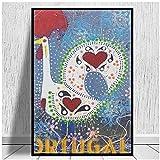 SYBS Resumen Barcelos Roosters Portugal Impresiones en Lienzo Arte de la Pared póster decoración de la Sala de Estar Pintura para el hogar Hotel apartamento-36x48 Pulgadas (90x120cm) sin Marco